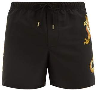 Versace Dragon Print Swim Shorts - Mens - Black Multi