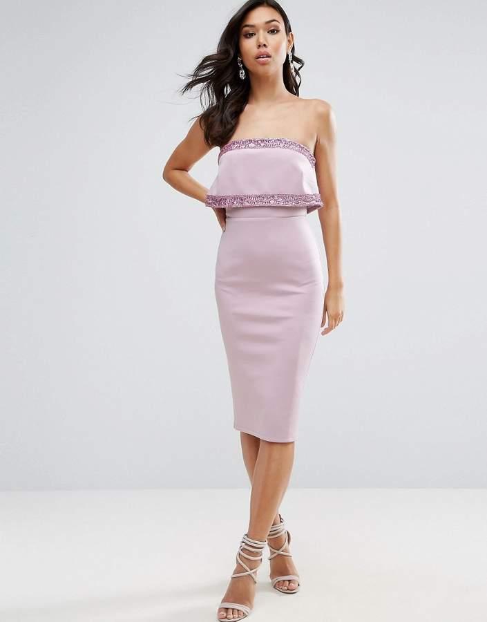 AsosASOS Embellished Crop Top Bandeau Midi Dress