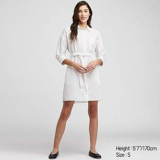 Uniqlo Women's Linen Blend 3/4 Sleeve Shirt Dress