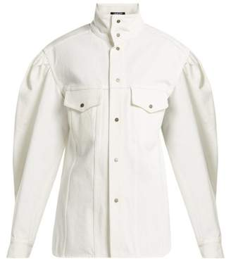 Calvin Klein Puff Sleeve Denim Jacket - Womens - White