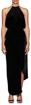 Juan Carlos Obando Women's Satin-Trimmed Velvet Halter Gown