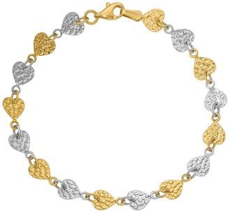 "14K Gold 7"" Two-Tone Textured Heart Link Bracelet, 3.3g"