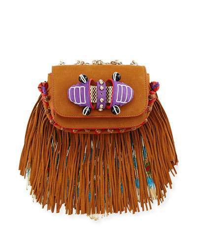 Christian Louboutin  Christian Louboutin Sweet Charity Beaded Fringe Crossbody Bag, Brown