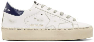 Golden Goose White and Bue Hi Star Platform Sneakers