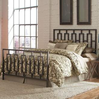 Leggett & Platt Miami Complete Metal Bed and Steel Support Frame with Geometric Designed Grills and Squared Tubing, Coffee Finish, Queen