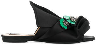 No.21 embellished abstract bow mules