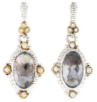 Judith Ripka Quartz & Diamond Drop Earrings
