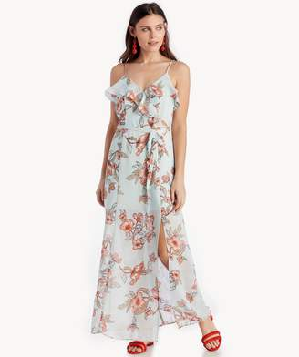 Sole Society Floral Printed Maxi Dress With High Slit