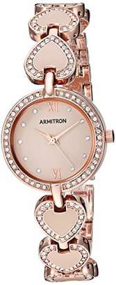 Swarovski Armitron Women's 75/5606BHRG Crystal Accented Rose Gold-Tone and Blush Pink Heart Shaped Bracelet Watch