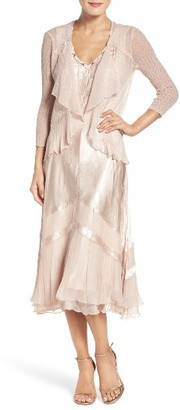 Women's Komarov Embellished Midi Dress & Cascade Jacket $438 thestylecure.com