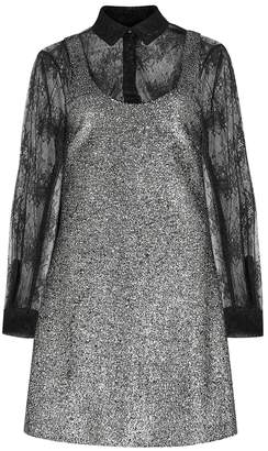 Moschino Silver Bouclé And Lace Dress