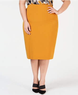 Kasper Plus Size Midi Pencil Skirt