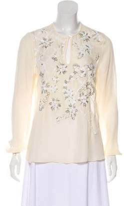Prabal Gurung Silk Embellished Blouse