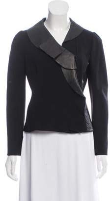 Valentino Leather-Trimmed Knit Blazer Black Leather-Trimmed Knit Blazer