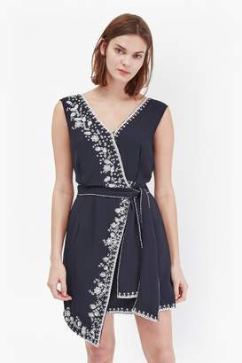French Connection Jasmine Drape Embroidered Wrap Dress