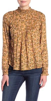 William Rast Dalton Mock Neck Floral Print Blouse
