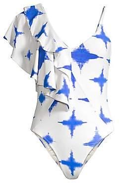 5ecc9e0c31 Paper London Women s Sollier Tie-Dye Ruffle One-Piece Swimsuit