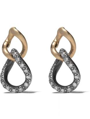 hum 18kt yellow gold, silver and diamond link earrings