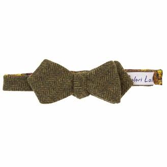 40 Colori Green Herringbone Wool Spencer Bow Tie