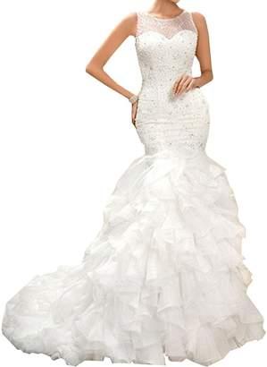 Lava-ring Women's Scoop Organza Beaded Pleat Illusion Back Mermaid Wedding Dress US