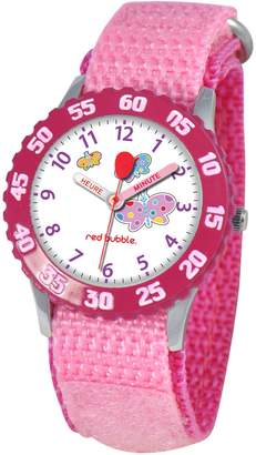 Red Bubble Red-Bubble Watch W002056-Girls-educational Pink Quartz White Dial Strap-Nylon