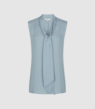 936e63fd782bc6 Reiss Trudie - Pintuck Detail Sleeveless Blouse in Blue