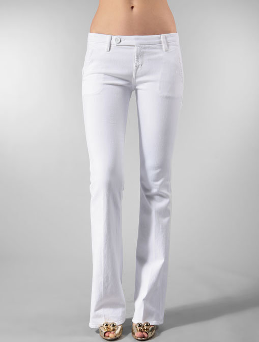 Raven Denim Mackenzie with Braid Pocket Trouser in Optic White