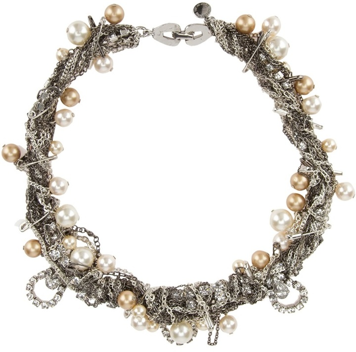 Tom Binns safety pin, pearl and crystal embellished bracelet
