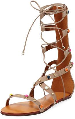 Carrano Liane Embellished Leather Gladiator Sandals Sand