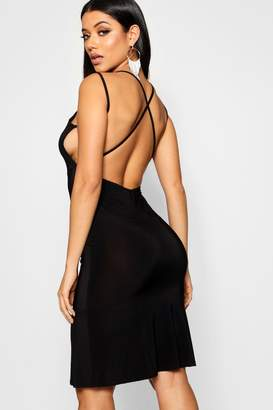 boohoo Double Strap Low Back Fishtail Midi Dress