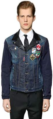 DSQUARED2 Denim & Nylon Jacket W/ Leather Details