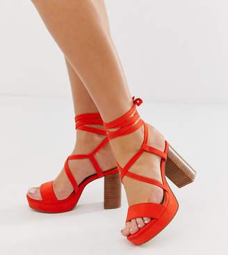 Asos Design DESIGN Wide Fit Walker platform block heeled sandals