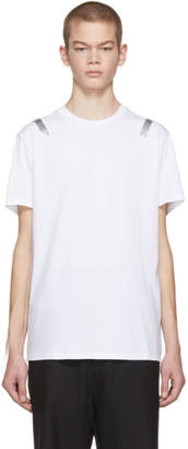 Neil Barrett White and Silver Taped Shoulder T-Shirt