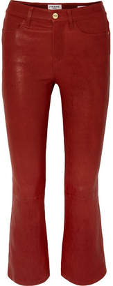 Frame Le Crop Mini Boot Leather Pants - Red