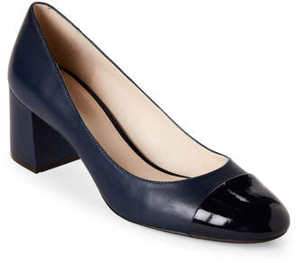 Cole Haan Marine Blue Dawna Cap Toe Block Heel Pumps