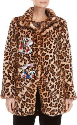 Blugirl Leopard Print Faux Fur Embellished Coat