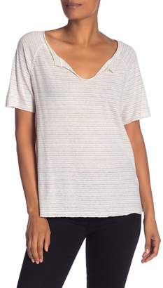 Michael Stars Striped Split Neck Tee