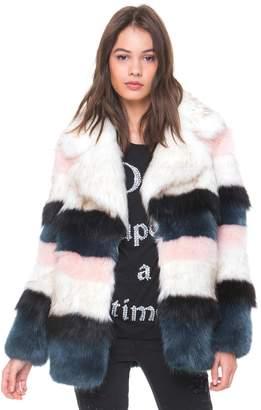 Striped Faux Fur Coat