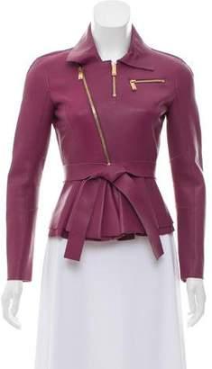 DSQUARED2 Leather Peplum Jacket