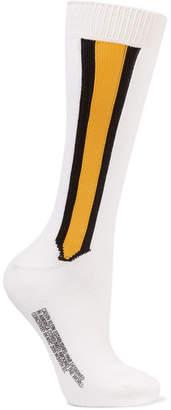 Calvin Klein Intarsia Stretch-wool Blend Socks - White