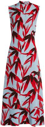 Marni Bamboo-print high-neck sleeveless twill dress