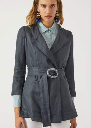 Emporio Armani Linen Twill Jacket With Belt