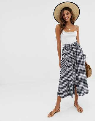 Asos Design DESIGN gingham full midi skirt with belt and pockets