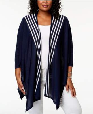 Anne Klein Plus Size Draped Open-Front Cardigan