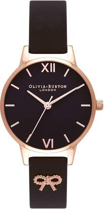 Olivia Burton Vintage Bow Leather Strap Watch, 30mm