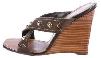 Louis Vuitton Studded Wedge Slide Sandals