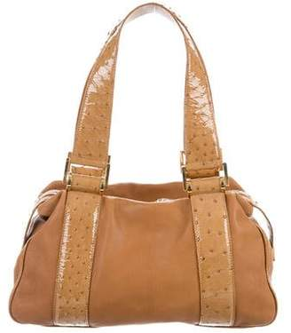 Michael Kors Patent Ostrich-Trimmed Leather Shoulder Bag