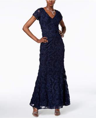 Xscape Evenings V-Neck Floral-Applique Gown