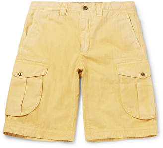 Incotex Herringbone Washed-Cotton Cargo Shorts - Men - Yellow