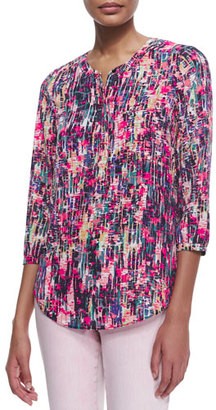 NYDJ 3/4-Sleeve Printed Pleated-Back Blouse, Spring Confetti $88 thestylecure.com